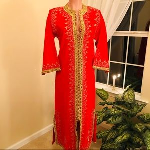 Gorgeous Vintage Hand Sewn Red Caftan
